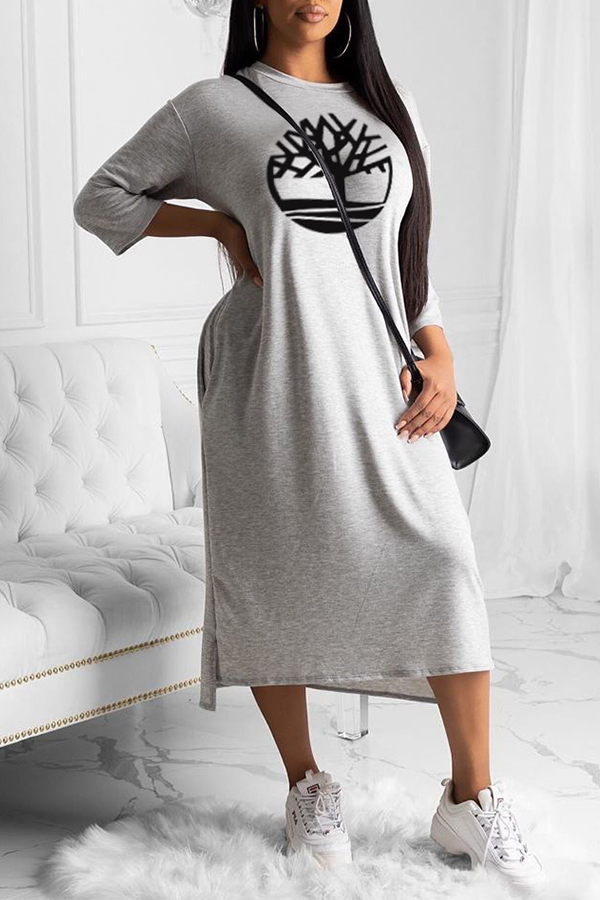 lovelywholesale / Cheap Daily Dress Lovely Chic O Neck Print Grey Mid Calf Dress
