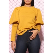 Lovely Chic O Neck Yellow Blouse