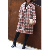 Lovely Chic Plaid Loose Red Coat