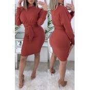 Lovely Trendy Knot Design Red Knee Length Dress