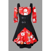 Lovely Christmas Day Print Red Plus Size Two-piece