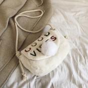 Lovely Casual Letter White Crossbody Bag