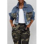 Lovely Casual Camouflage Printed Patchwork Blue Co