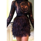 Lovely Party Lace Patchwork Black Mini Evening Dre