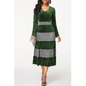 Lovely Leisure V Neck Striped Green Mid Calf Dress
