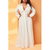 Lovely Casual Pocket Patched White Plus Size Maxi