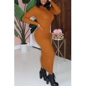 Lovely Casual Hooded Collar Brown Mid Calf Dress