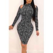 Lovely Trendy Letter Print Grey Knee Length Dress