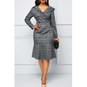 Lovely Work Plaid Print Grey Trumpet Mermaid Dress