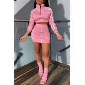 Lovely Casual Letter Zipper Design Pink Two-piece Skirt Set