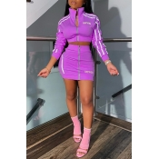 Lovely Casual Letter Zipper Design Purple Two-piece Skirt Set