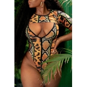 Lovely Leopard High-Leg Plus Size One-piece Swimwe