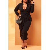 Lovely Casual Lace-up Black Mid Calf Plus Size Dre