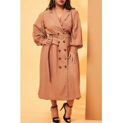 Lovely Casual Turn-back Collar Buttons Light Tan P