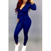 Lovely Casual Hooded Collar Blue Two-piece Pants Set