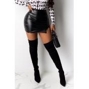 Lovely Casual Skinny Black PU Skirt