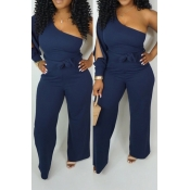 Lovely Work One Shoulder Blue One-piece Jumpsuit