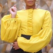 Lovely Casual O Neck Flounce Design Yellow Blouse