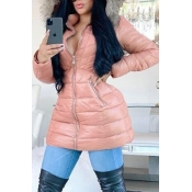 Lovely Casual Hooded Collar Pink Winter Coat