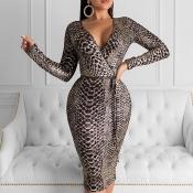 Lovely Chic V Neck Snakeskin Print Knee Length Dre