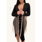 Lovely Chic Tassel Design Black Blazer