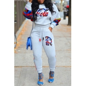 Lovely Casual Letter Print Grey Two-piece Pants Se