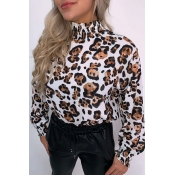 Lovely Leisure Turtleneck Floral Print White Blous