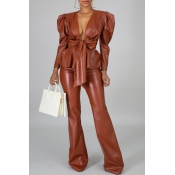 Lovely Trendy V Neck Flounce Brown Two-piece Pants