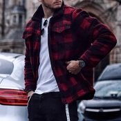 Lovely Casual Plaid Print Red And Black Jacket