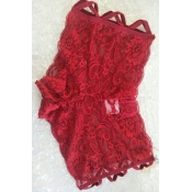 Lovely Sexy Hollow-out Wine Red Panties