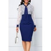 Lovely Chic Patchwork Blue Knee Length Dress