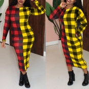 Lovely Casual Plaid Yellow  Mid Calf Dress