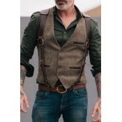 Lovely Casual Buttons Design Brown Vest
