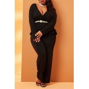 Lovely Casual Deep V Neck Black Plus Size Two-piec
