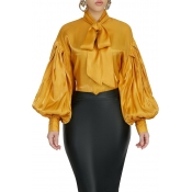 Lovely Casual Mandarin Collar Yellow Blouse