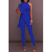 Lovely Casual One Shoulder Blue One-piece Jumpsuit