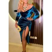 Lovely Trendy V Neck Side Slit Blue Knee Length Dr