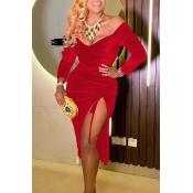 Lovely Trendy V Neck Side Slit Red  Knee Length Dr