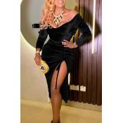 Lovely Trendy V Neck Side Slit Black Knee Length D