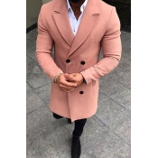 Lovely Casual Turndown Collar Buttons Pink Coat