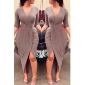 Lovely Chic V Neck Ruffle Design Khaki Ankle Length Dress