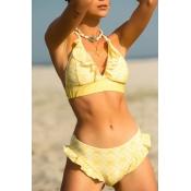 Lovely Bohemian V Neck Flounce Design Yellow  Two-