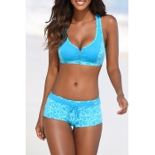 Lovely Basic Blue Two-piece Swimsuit