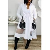 Lovely Casual Tassel Design White Mid Calf Dress