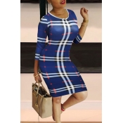 Lovely Casual Plaid Print Blue Knee Length Dress