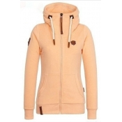 Lovely Casual Zipper Design Basic Yellow Coat