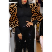 Lovely Chic O Neck Leopard Black Blouse