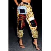 Lovely Casual Patchwork Tiger Stripes Pants