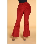 Lovely Trendy Flared Wine Red Pants