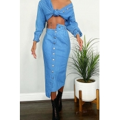 Lovely Casual Buttons Design Blue Two-piece Skirt